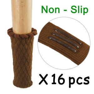 amazon chair covers hard to slide off chair socks furniture leg feet wood floor protectors set cross knitted set of brown melonboat hires