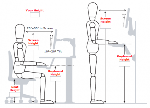 average chair height standing desk measurments