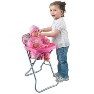baby camping high chair dolls world high chair with pink plastic food tray p