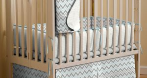 baby trends high chair cover mist and gray chevron portable crib bedding large()