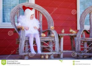 bent wood chair little girl mother hen costume baby chicks cute dressed chicken sitting bent wood chair outdoors front red house