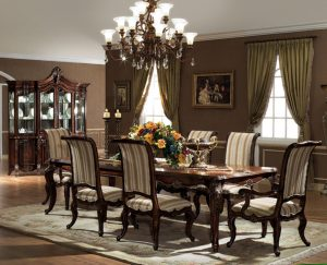 blue dining chair gorgeous chandelier above elegant formal dining room sets with long teak table and classic wooden chairs on grey carpet inside spacious room using natural oak flooring x