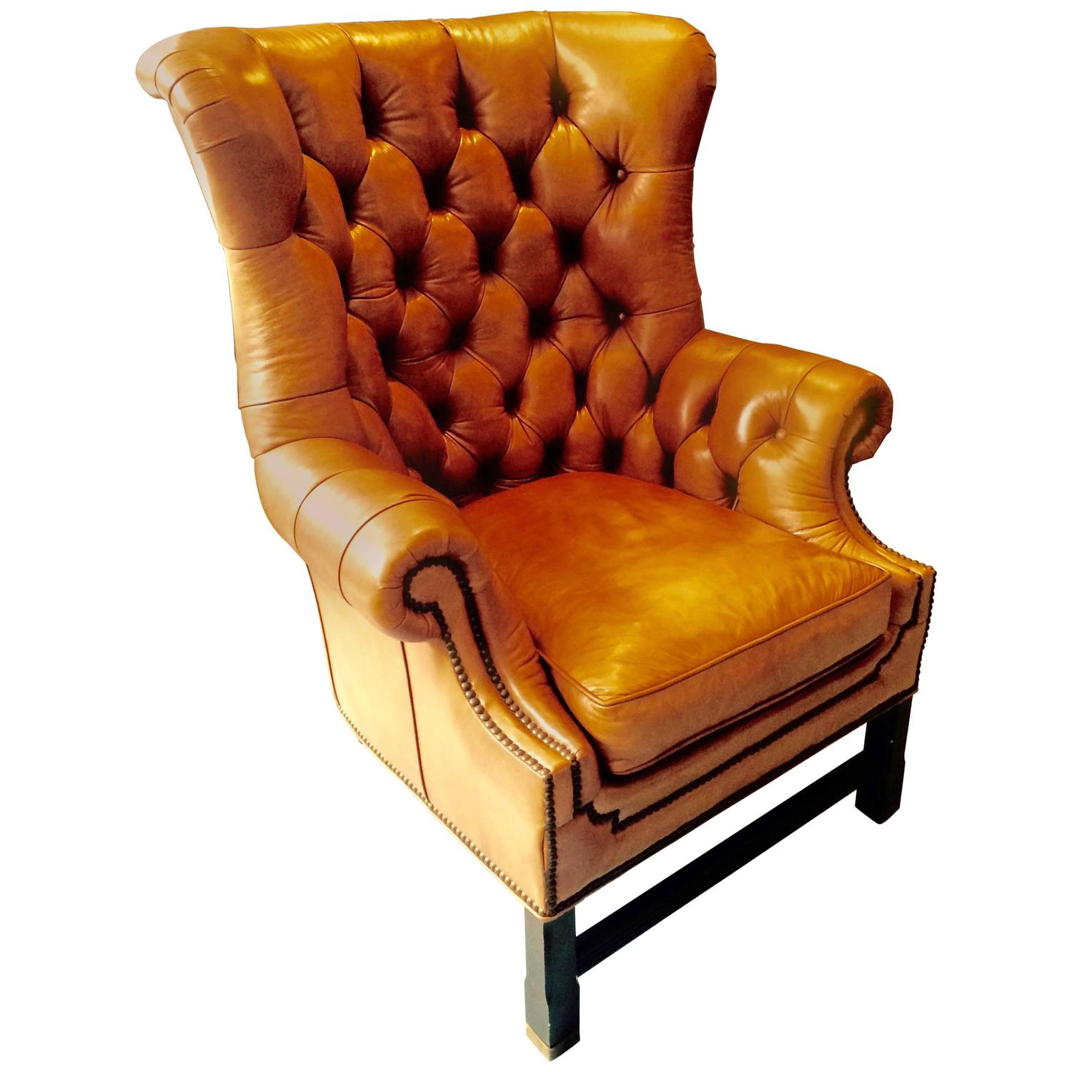 camel leather chair