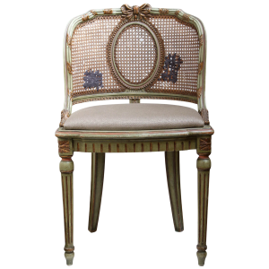 cane back chair reupholstered cane back vanity chair front