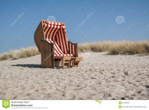 canopied beach chair beach chair traditional canopied baltic sea marram grass blue sky background