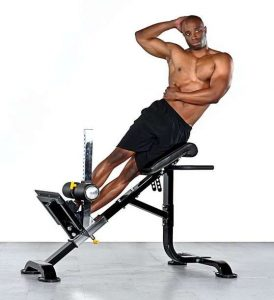 chair exercise for abs side bends on a hyperextension bench