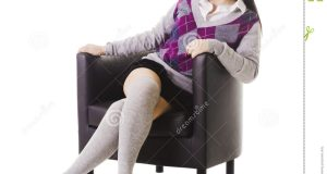 chair leg socks chinese school girl portrait