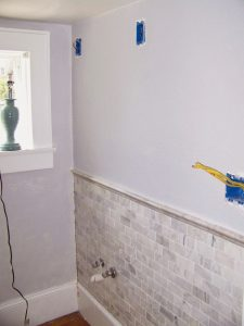chair rail tile complete bathroom remodel seesaws and sawhorses on remodelaholic