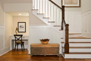 chair railing designs innovative newel look charleston beach style staircase decorating ideas with black chair built in desk cottage dark wood railing desk under stairs framed artwork