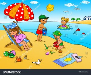 children beach chair stock photo children playing with the sand at the beach summer holidays digital cartoon illustration for kids