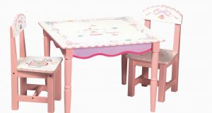 childrens table and chair sets furniture square pink stained wooden chair with white top having floral painted accent added two armless chairs childrens wooden table and chairs