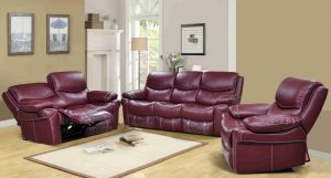 double recliner chair langdon burgundy genuine leather power reclining sofa set