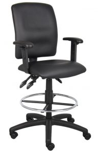 drafting chair with arms boss multi function leatherplus drafting stool with adjustable arms