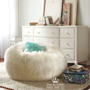 faux fur bean bag chair whith filling sofa set living room furniture luxe bean bag faux fur adult outdoor white long
