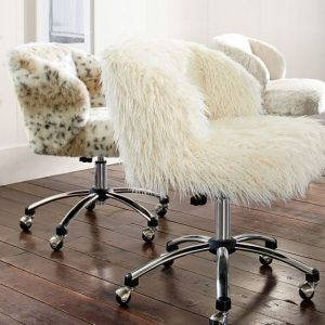 faux fur desk chair ivory furlicious wingback desk chair c