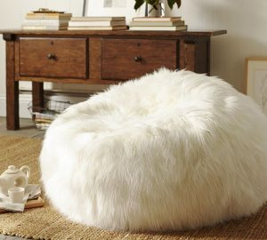 giant beanbag chair beanbag white floor pillow pouf polyester blend long shaggy faux fur pouf