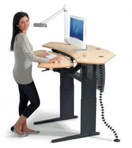grey desk chair flexo standing desk maple surface