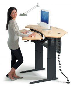 grey desk chair flexo standing desk maple surface