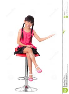 high chair for girls happy little asian girl sitting high chair isolated over white clipping path
