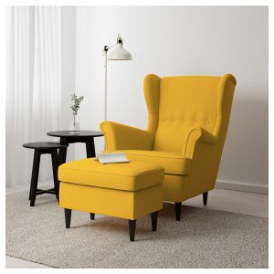 ikea yellow chair strandmon footstool skiftebo yellow pe s