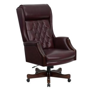 leather office chair kc ctg gg high back traditional tufted bur
