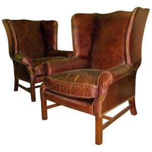 leather wingback chair l