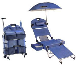 lightweight camping chair loungepac the portable beach chair featuring a fridge umbrella and sound system