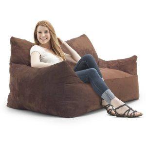 memory foam bean bag chair fufsack memory foam imperial loveseat brown microfiber foot bean bag dcbeda c db e cbbccd