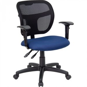 mesh seat office chair flash furniture wl asyg nvy a gg mid back mesh task chair with navy blue fabric seat and arms xlarge