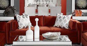 modern white accent chair modern red velvet sofa on white rug