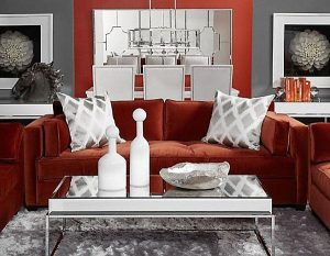 modern white accent chair modern red velvet sofa on white rug