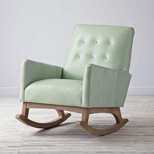 nursery rocking chair light button tufted green leather rocking chair