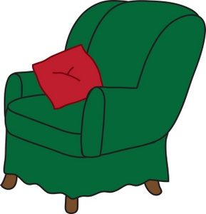office chair pillow clip art illustration of a green arm chair with a red throw pillow smu