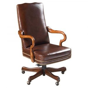 office desk chair baxter brown leather office chairs with wooden arms