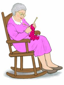 old rocking chair old woman knitting clipart