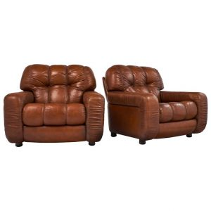 overstuffed leather chair l