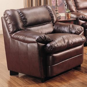 overstuffed leather chair brown overstuffed leather upholstered chair with pillow arms