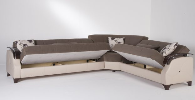 pull out chair cado modern furniture trento sectional sleeper with storage selen brown