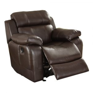 reclining rocking chair homelegance marille rocking reclining chair in brown leather