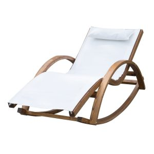 reclining rocking chair outsunny rocking chair patio wooden wood armchair padded lounge recliner shaker
