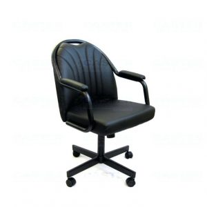 reupholster office chair metal and wood dining chairs caster chair company c empire casual rolling with upholstered arms black polyurethane seat overstock x