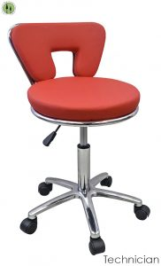 reupholster office chair wood outdoor dining chairs red chair stool tattoo technician rolling wheels chrome blue