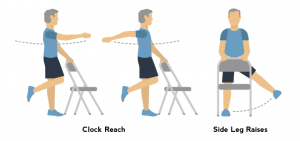 senior chair exercise clock side leg