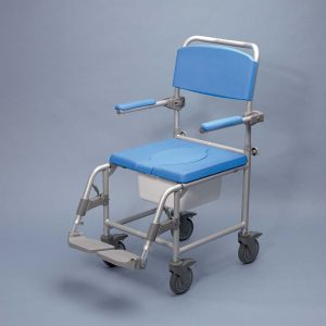 shower commode chair attendant propelled shower commode chair