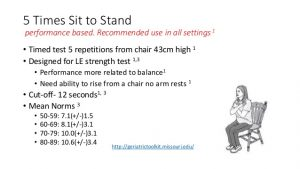 stand up chair prognostic indicators and outcome measures