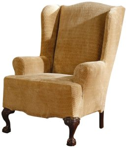 sure fit wing chair covers sure fit stretch royal diamond wing slipcover gold