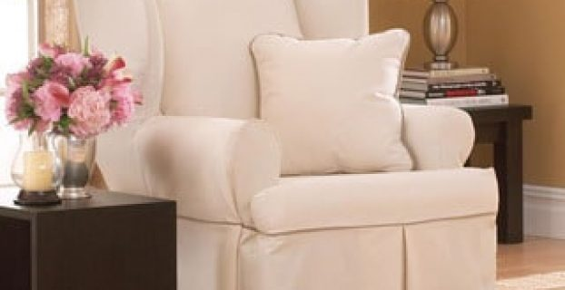 sure fit wingback chair cover contrast cord duck natural wing chair slipcover p