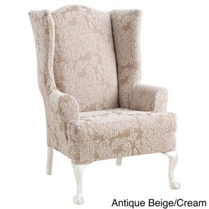 sure fit wingback chair cover sure fit stretch forest wing chair slipcover edd e b da dbdb