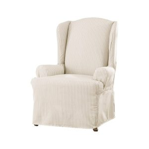 sure fit wingback chair cover sure fit ticking stripe wing chair slipcover bf ba d ada daba