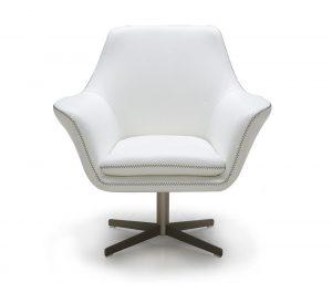 swivel lounge chair divani casa a modern leather swivel lounge chair white